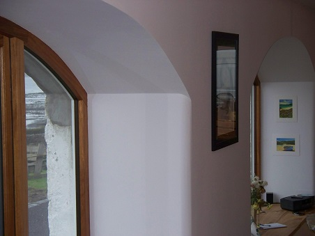 Curved plaster surface